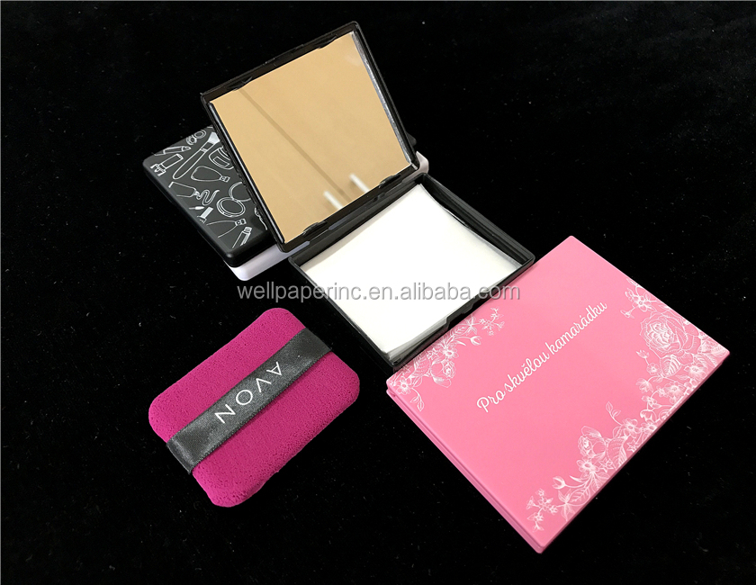 1Box-50pcs Black Box Beauty Blotters Face Oil Absorbing Tissues With Case Mirror, Makeup Skin Care Oil Control Blotting Paper