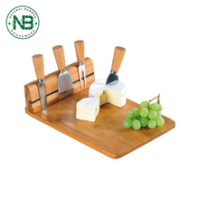 100% Nature Bamboo cheese board cheese cutting boards with Cutlery