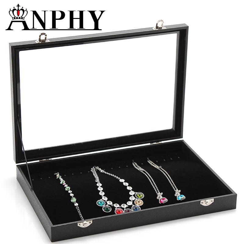 ANPHY A28 Leather Glass Lid Flannelette Inside Black Chains Necklace Showcase Tray
