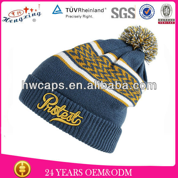 Custom Embroidery Design Pompom Jacquard Knitted Adult's Size High Quality 100% Fleece Knit Baby Hat
