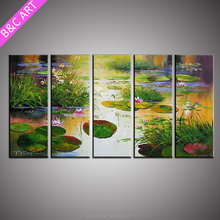 Home Decoration Modern Beautiful Natural 5 Panel Lotus Flower Oil Painting On Canvas