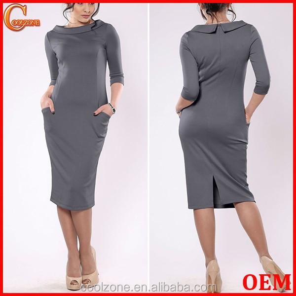 suivant saison manches longues automne robe droite pour bureau femmes l gante robe de bureau. Black Bedroom Furniture Sets. Home Design Ideas