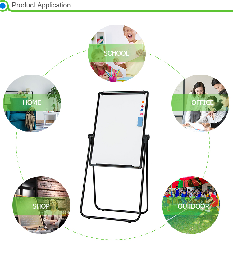 China supplier adjustable height 100-175 cm U-shaped flip chart board, foldable whiteboard with stand