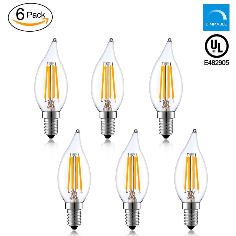 Worbest C32 LED Candelabra Bulb 4W(40 Watts Equivalent), 2700K(Soft White) 400LM Dimmable E12 Base Flame Filament Light,2 Years Guarantee Energy Saving UL Listed-(Pack of 6)