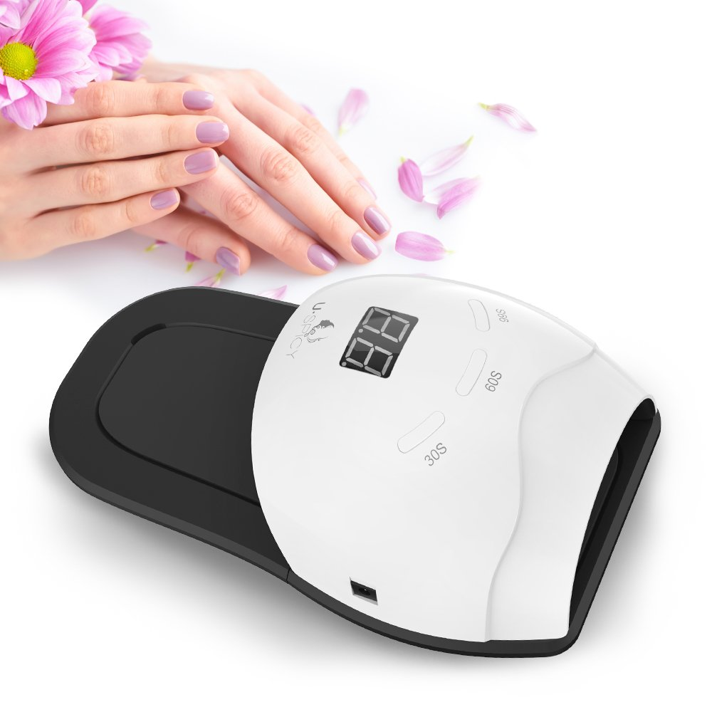 USpicy 48W LED Nail Dryer Nail Lamp, Elongated Base & Foot Pad for Your Feet, Automatic Sensor, Works With All Nail Polishes, Flexible & Detachable Base for Fingernails & Toenails, 3 Timer Settings