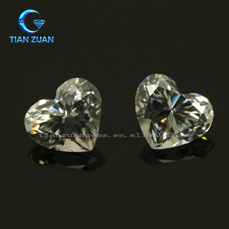 5A Quality Synthetic Gemstones Machine Cut White Heart shape Cubic Zirconia CZ