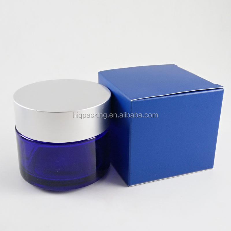 empty blue 30g 50g cosmetic container 100g glass skin care cream jar with lid