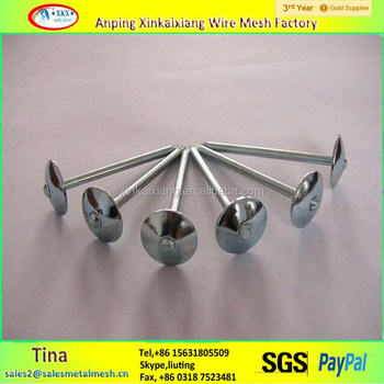 Washer Corrugated Dome Umbrella Head Aluminum Roofing Nail /roofing Iron  Nails