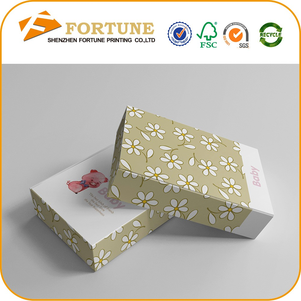 Mini flower printed recyclable baby paper shoe box packaging