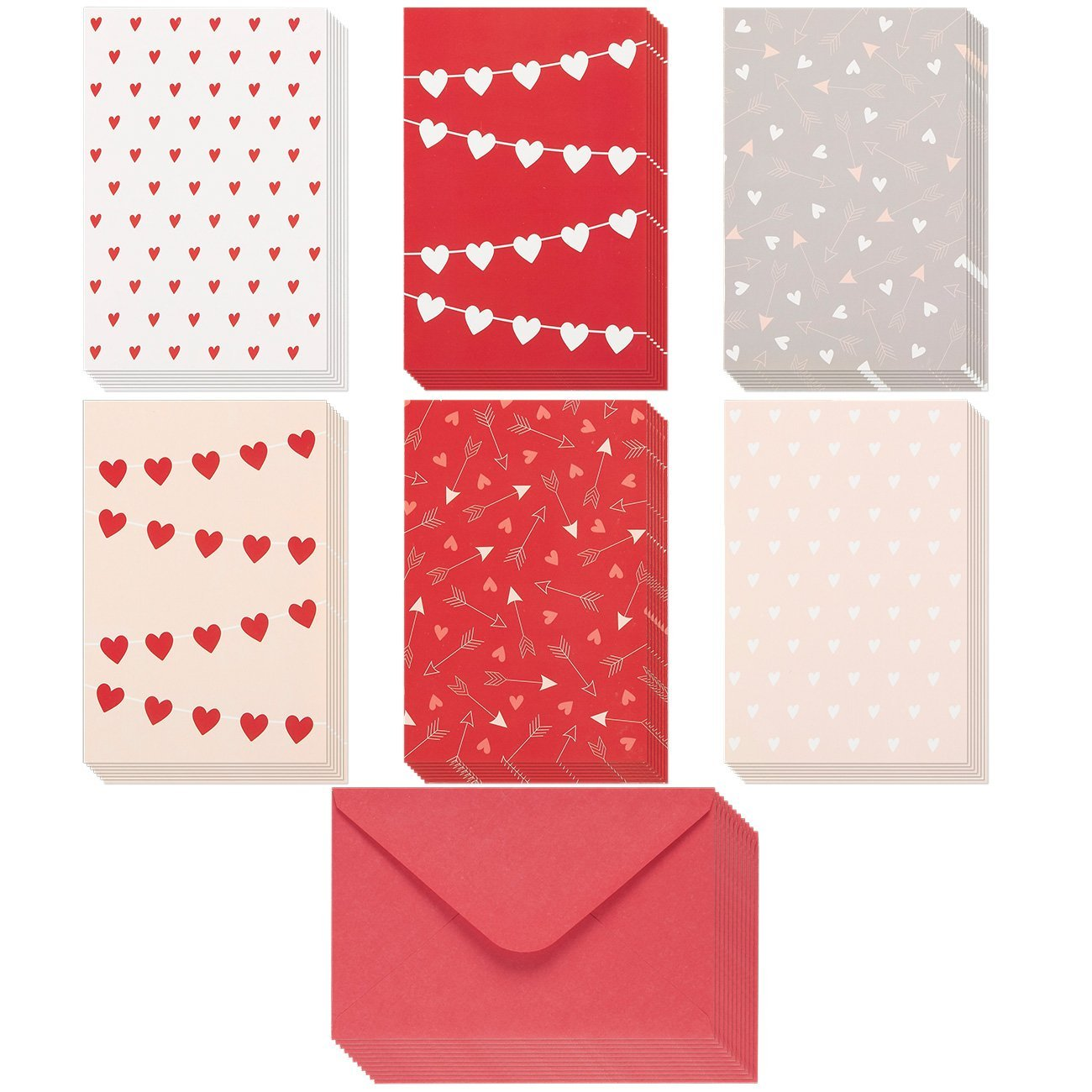 Valentine Cards- Heart Pattern Love Cards Romantic Greeting Cards with Red Envelopes For Valentine's Day