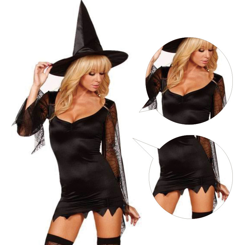Hot Black Sexy Women Queen Costumes,Halloween Sexy Costume for Women, Witch Cosplay Ropa Interior Mujer Free Shipping
