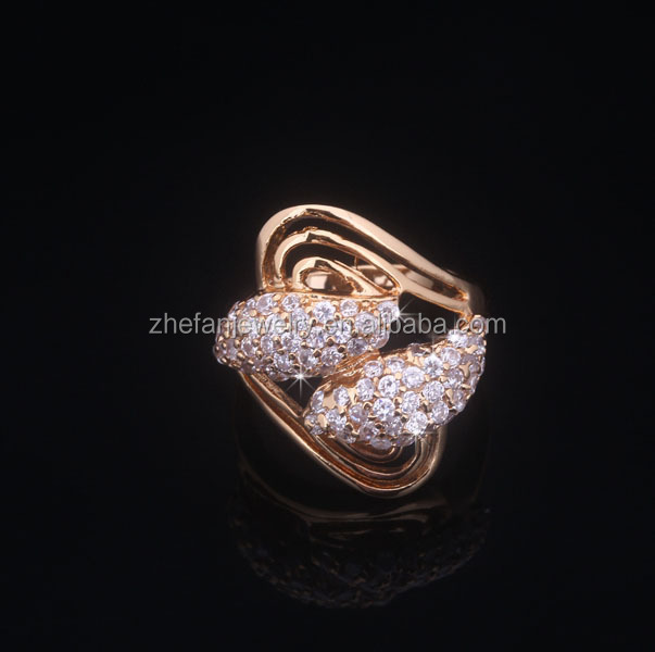 Fashion jewelry design micro pave brass rings for wedding and engagement
