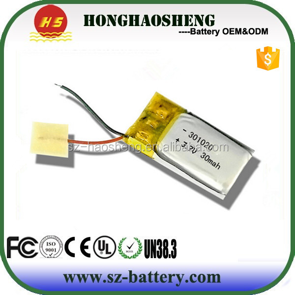 Smart Watch Battery 3.7V Lipo 30AH Battery In China