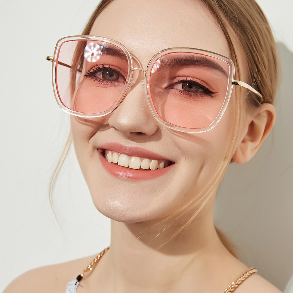9822d20a969 Fashion Women Neutral Large Round Frame Side Shades Sunglasses ...
