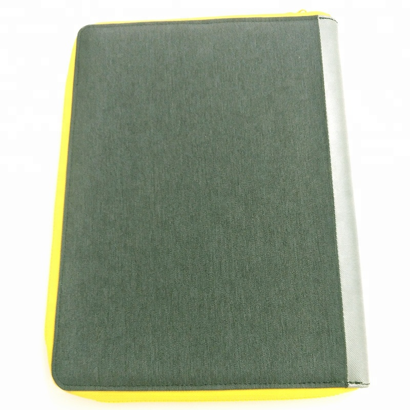 New style A4 Zipper PU Folder with Notepad Portfolio