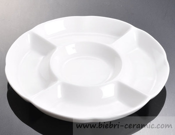 Super White Excellent Quality Ceramic Porcelain Partion Divided Portion Plates Dishes For Restaurant Hotel Party Whole