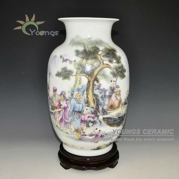 Beautiful Chinese Ceramic Flower Vases Hand Painting Design For Home