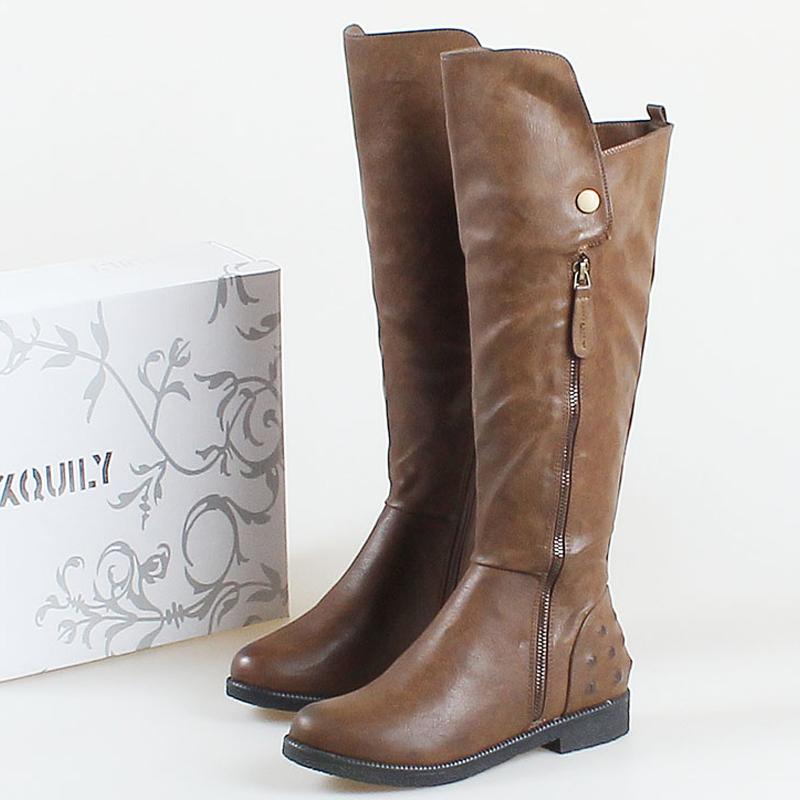 Nice plus size women fashion boots vintage side zipper
