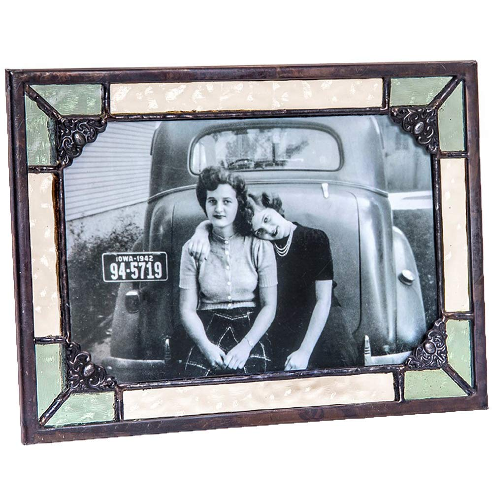 J Devlin Pic 404 Series Yellow and Salem Green Stained Glass Picture Frame - Available in 4x6 or 5x7 Displaying Vertically or Horizontally (4x6)