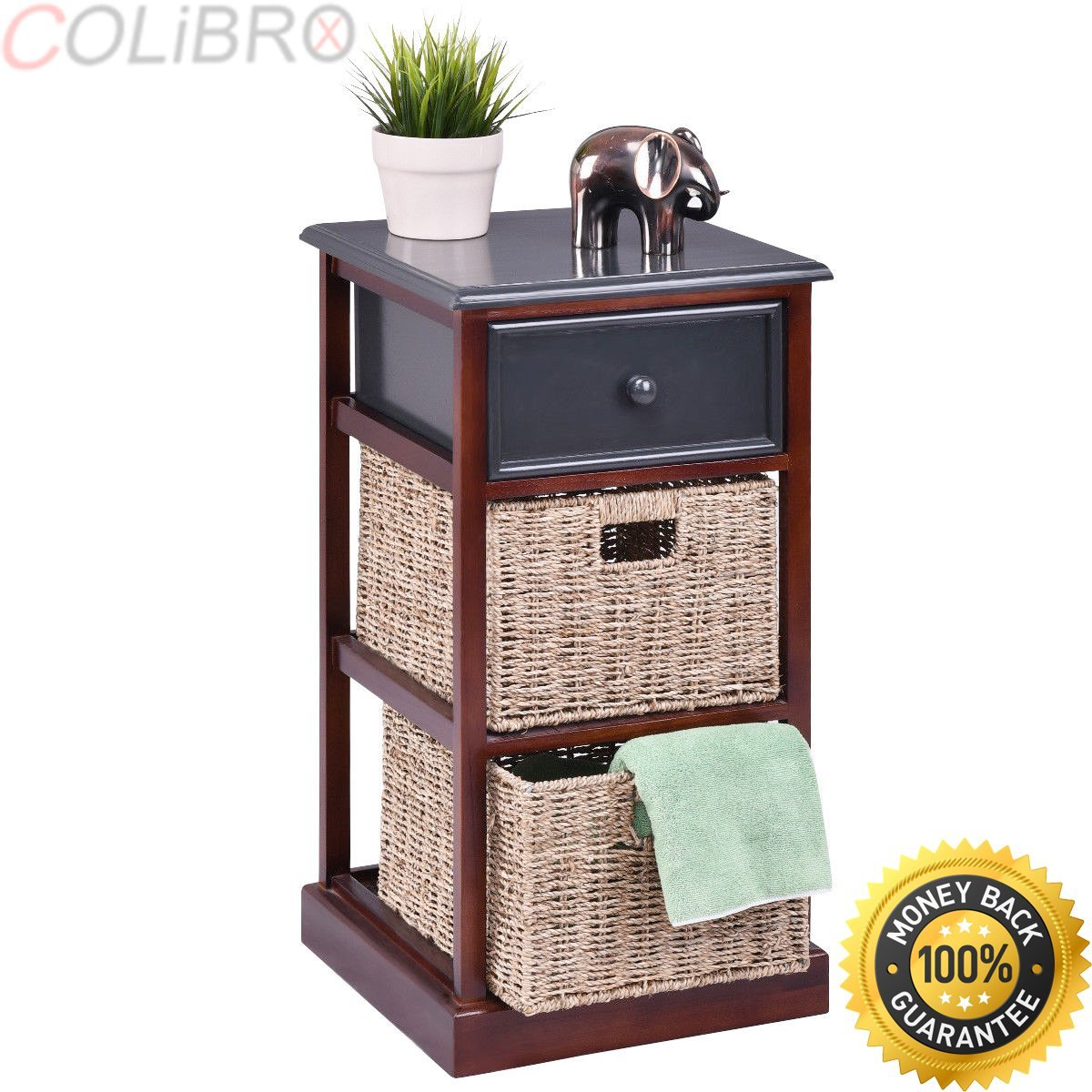 COLIBROX--2PCS 3 Tier Wood Nightstand Drawer 2 Basket Bedside End Table Organizer Brown.3 drawer nightstand.nightstands clearance.south shore furniture 3 drawer nightstand.amazon nightstands.