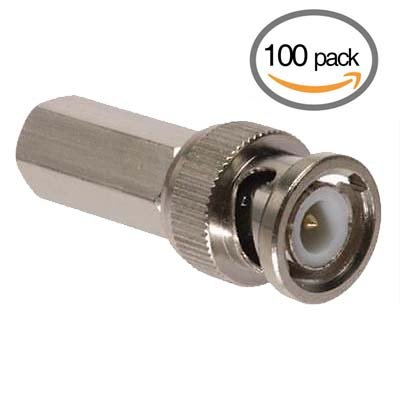 Neptune 100 Twist BNC Male Connectors Cable Adapters for RG59 Coaxial Cable