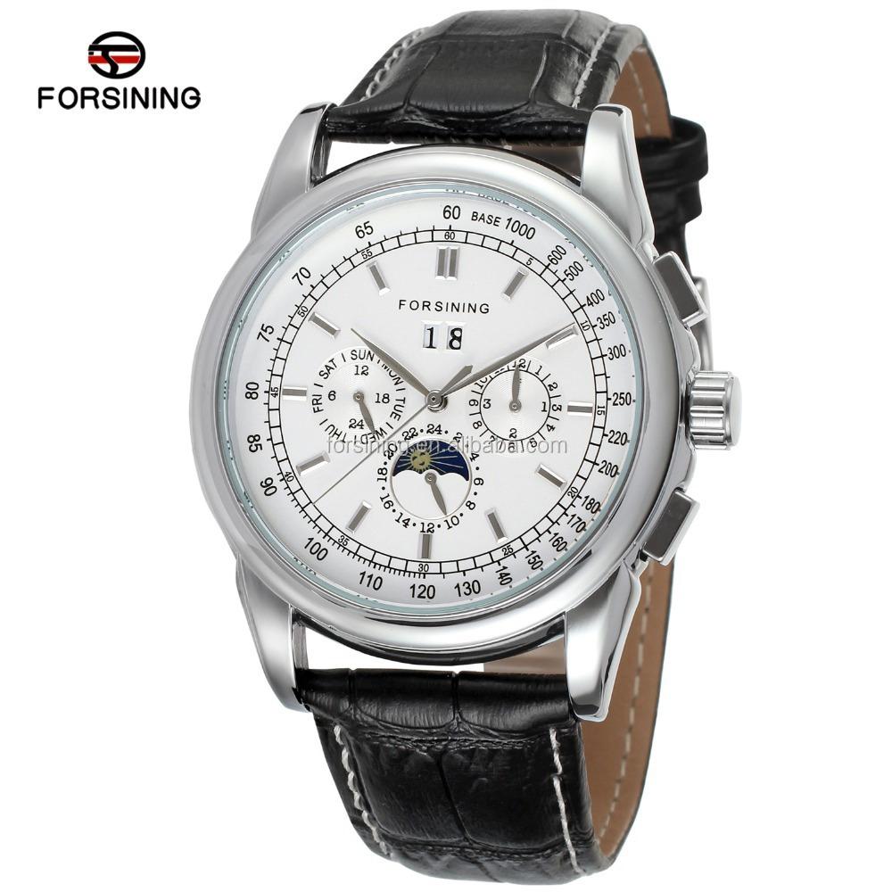 2019 Forsining Luxury Moon Phase Leather Automatic Man Wristwatch Brands Men Watch фото