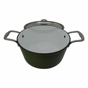 Shallow Enamel Cast Iron Casserole With Glass Lid