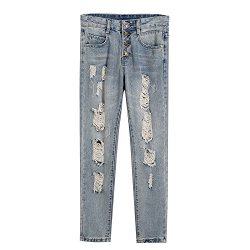 Woman's Jeans - SODIAL(R)Woman's New Fashion Summer Style Women Jeans ripped Holes Harem Pants Jeans Slim vintage boyfriend jeans for women(blue,China-29/US-6)