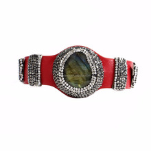 LS-D7025 Natural red leather men bracelet bangle,Labradorite stone bracelet bangle,crystal pave labradorite bangles wholesale