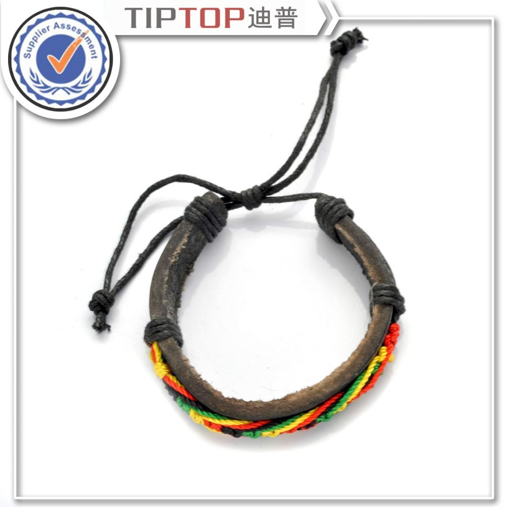 Cool Men Woman Punk Cotton Rope Genuine Leather Rope Knitted Cowhide Bracelets Bracelet