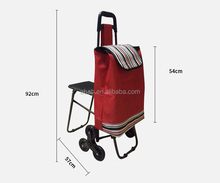 600d canvas foldable and folding shopping trolley bag