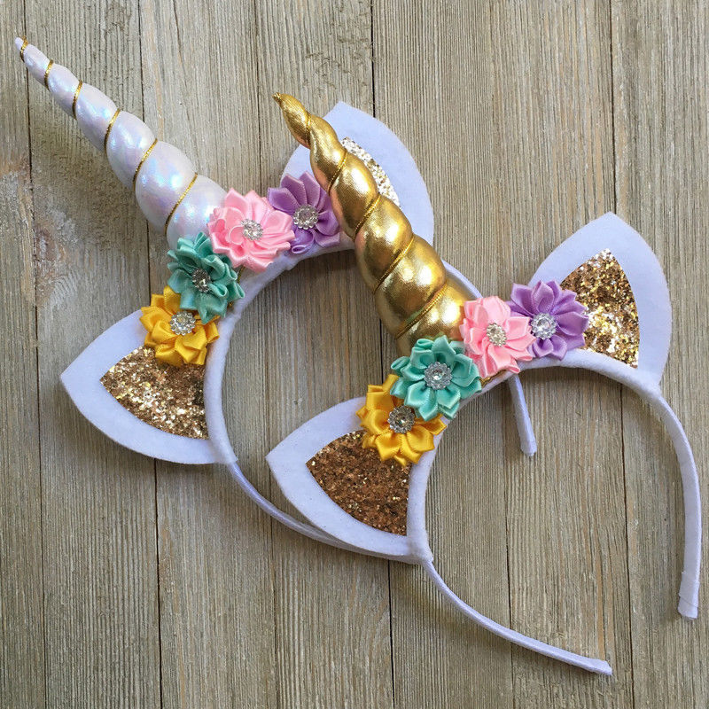 Magical Unicorn Horn Ears Pony Hair Headbands Fantasy Party Fancy Dress Cosplay