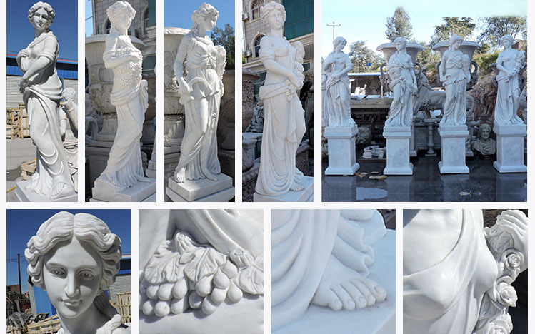 Life Size Garden Natural White Marble Four Season Statues