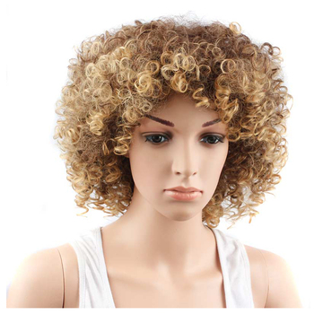 Yxcheris Curly Hair Mixed Brown Blonde Wavy Hairstyles Synthetic Kinky Curly Wigs For Black Women Buy Yxcheris Curly Hair Mixed Brown Blonde Wavy