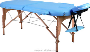 Wooden folding portable thai massage table spa equipment With high density foam and best PU/PVC