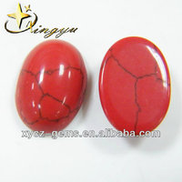 Red Turquoise Oval Cabochon Cut Synthetic Turquoise Made in China