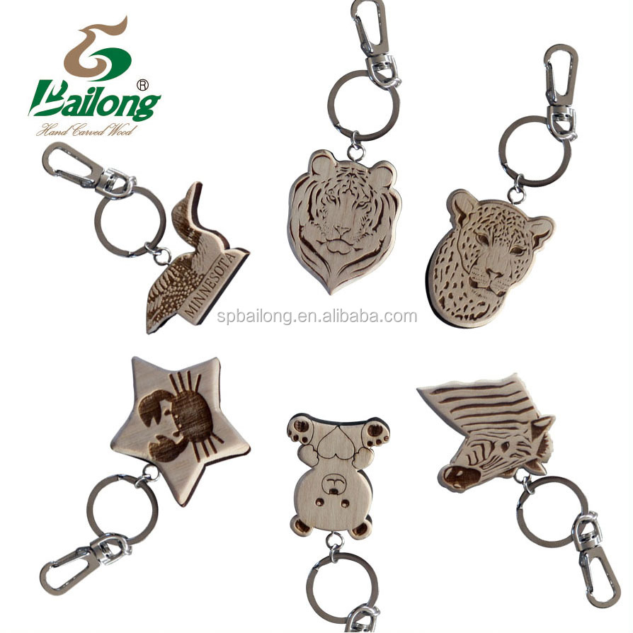 Factory price laser engraved custom design animal shape wooden keychain