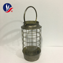 Glass Candle Holder Home Decoration Antique Metal Lantern