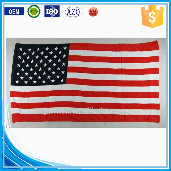 promotional velour reactive printed custom combed cotton fabric large flag beach towel