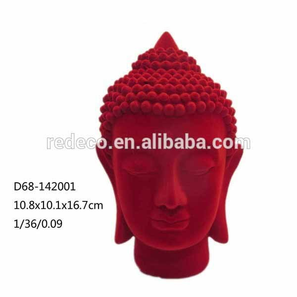 Polyresin home decoration flocked buddha head for sale