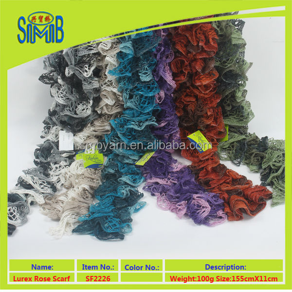 chinese ruffle fashionable scarf manufacturer smb hot sale oeko tex cheap women hand knitted scarf