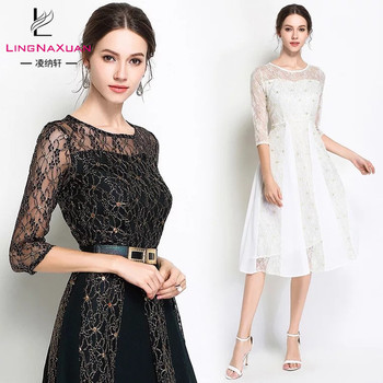 Fashion Long Sleeve Solid Lace Casual Dresses for Women Lady