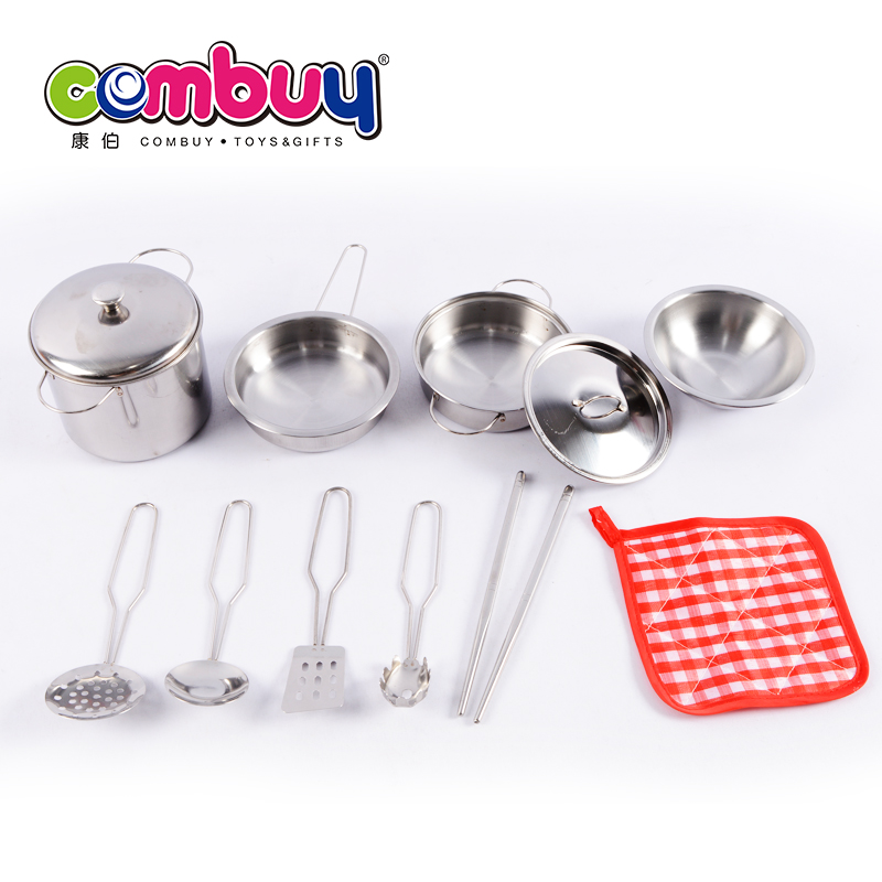 Pretend play stainless steel tableware funny kitchen toy play set