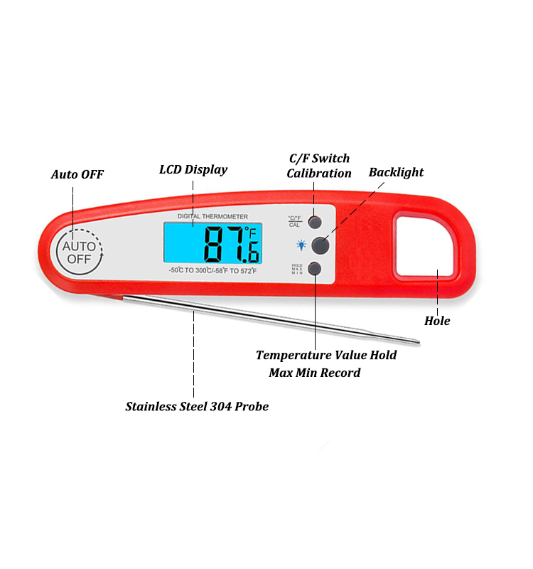 ethmeas Instant Read Meat Thermometer Food Cooking Thermometer with Backlight Waterproof and Strong Magnet For Grill Oven BBQ