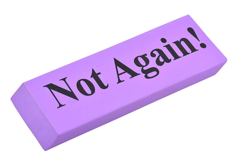 Not Again! Purple Jumbo Eraser for The Big Mistakes! (Funny Humor Desk Student School Teacher Job Office Lawyer Accountant Boss Secretary)