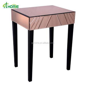 Copper Art Deco Mirrored Side Table with 1 drawers