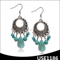 Fancy tibet silver dangle hook turquoise chandelier earrings