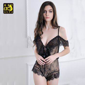 Mature Women Sexy Lingerie Hot Transparent Sleeping Dress
