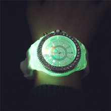 7 colors luminous led watch jelly silicone led quartz watch