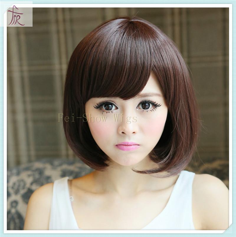 Cheap Korean Synthetic Wigs Full Bangs Women Short Bob Big